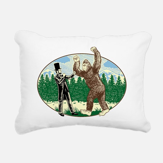 abe lincoln squatch Rectangular Canvas Pillow