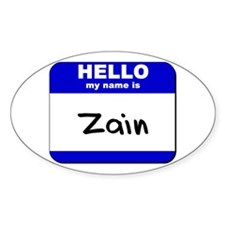 hello my name is zain Oval Decal