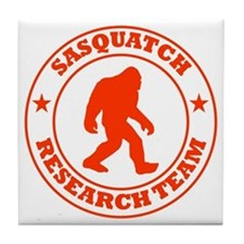 sasquatch research team red Tile Coaster