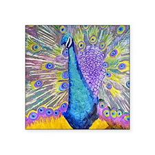 """Peacock Dance Square Sticker 3"""" x 3"""""""