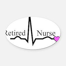 Retired Nurse QRS Oval Car Magnet