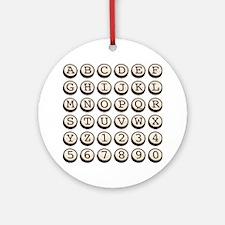 Old Fashioned Typewriter Keys Round Ornament