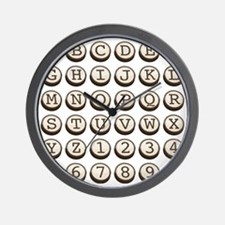 Old Fashioned Typewriter Keys Wall Clock