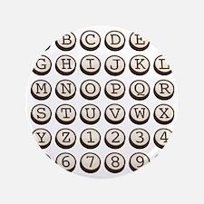 "Old Fashioned Typewriter Keys 3.5"" Button"