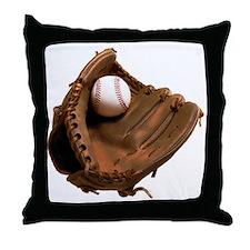 baseball and mitt Throw Pillow