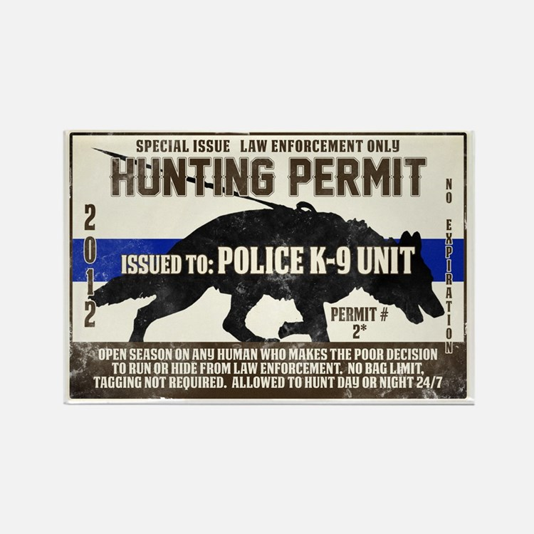 K9 Hunting Permit Rectangle Magnet