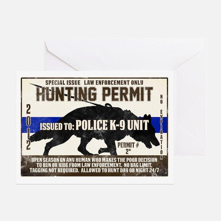 K9 Hunting Permit Greeting Card