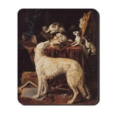 Borzoi And Cats Mousepad