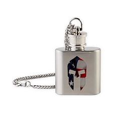 Square - Spartan Flag Flask Necklace