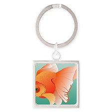 Goldfish Illustration Square Keychain