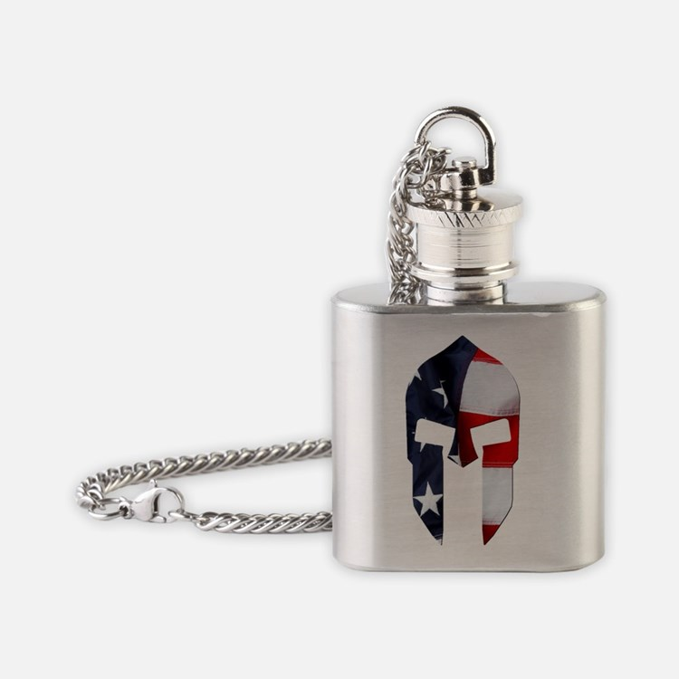Oval - Vertical - Spartan Flag Flask Necklace