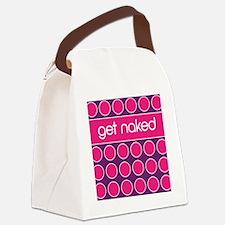 purple pink dot Canvas Lunch Bag