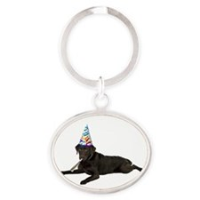 Chocolate Lab Party Oval Keychain