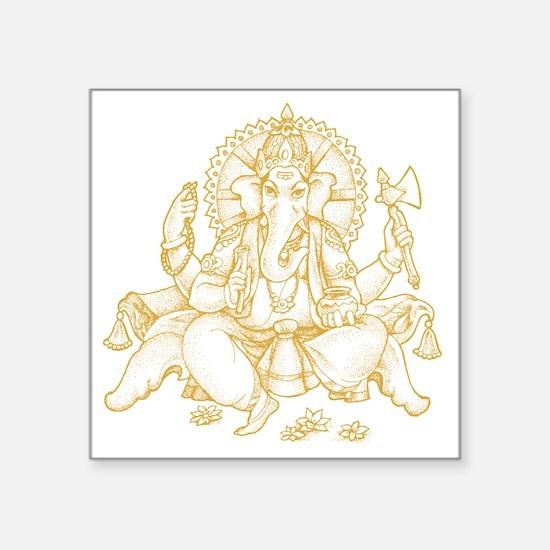 """Gold Ganesha Square Sticker 3"""" x 3"""""""