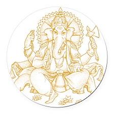 Gold Ganesha Round Car Magnet