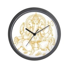 Gold Ganesha Wall Clock