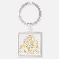 Gold Ganesha Square Keychain
