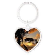 Sunset North Shore Oahu Heart Keychain