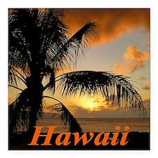 "Sunset North Shore Oahu Square Car Magnet 3"" x 3"""