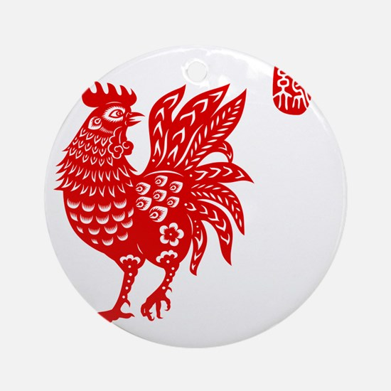Asian Rooster Round Ornament