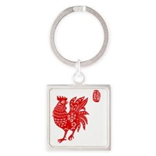 Asian Rooster Square Keychain