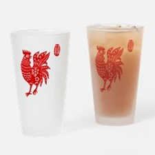 Asian Rooster Drinking Glass