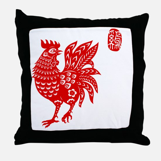 Asian Rooster Throw Pillow