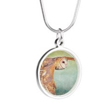 Barn Owl Silver Round Necklace