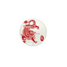 Asian Dragon Mini Button