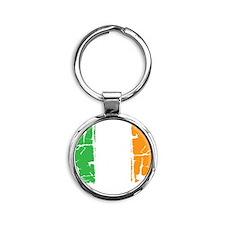 irish flag, craic head, st. patrick Round Keychain