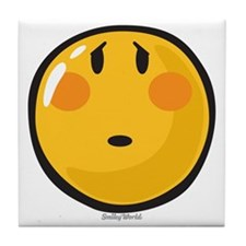 Timid smiley Tile Coaster