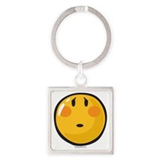 Timid smiley Square Keychain
