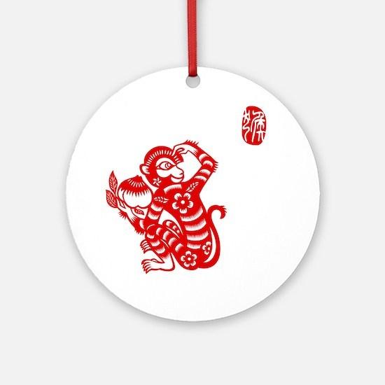 Asian Monkey Round Ornament