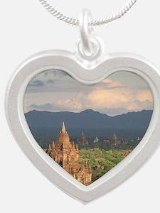 Bagan city of pagodas 1 Silver Heart Necklace
