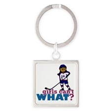 Hockey Girl Square Keychain