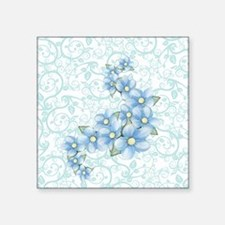 "baby blue flowers Square Sticker 3"" x 3"""