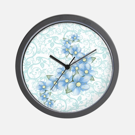 baby blue flowers Wall Clock