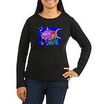 Cartoon Pirahna Women's Long Sleeve Dark T-Shirt