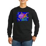 Cartoon Pirahna Long Sleeve Dark T-Shirt