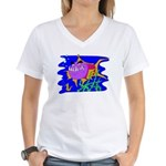 Cartoon Pirahna Women's V-Neck T-Shirt