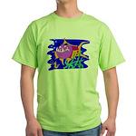 Cartoon Pirahna Green T-Shirt