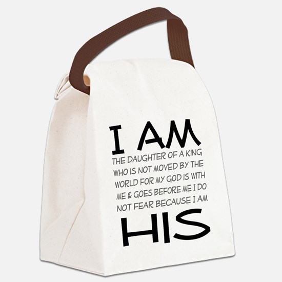 I am His block letters Canvas Lunch Bag