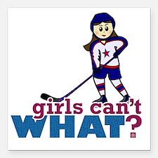 "Girl Hockey Player Square Car Magnet 3"" x 3"""