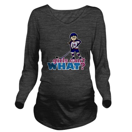 Girl Hockey Player Long Sleeve Maternity T-Shirt