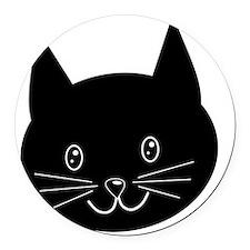 Black Cat Face. Round Car Magnet