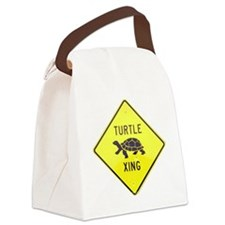 Turtle Crossing Canvas Lunch Bag