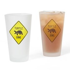Turtle Crossing Drinking Glass