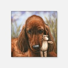 "Irish Setter Pup by Dawn Se Square Sticker 3"" x 3"""