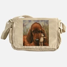 Irish Setter Pup by Dawn Secord Messenger Bag