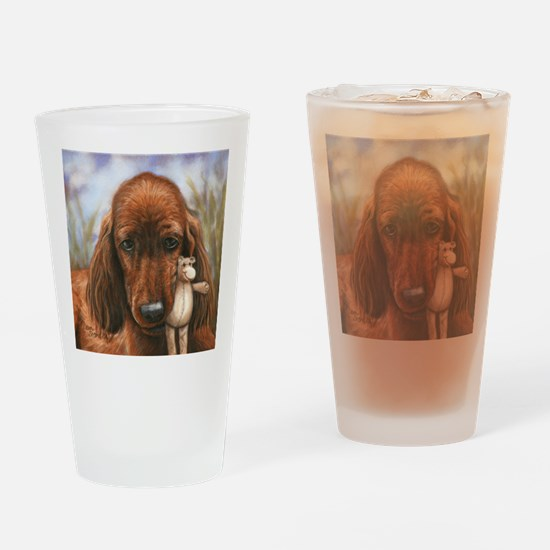 Irish Setter Pup by Dawn Secord Drinking Glass